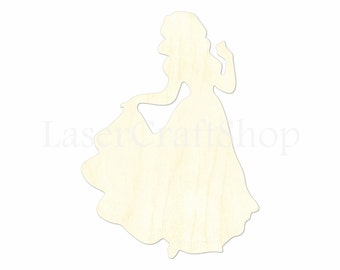 """2"""" - 34"""" Disney Princess Snow White Wooden Cutout Shape, Silhouette, Gift Tags Ornaments, Room Decoration, Laser Cut Birch Wood,  #1537"""