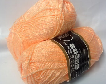 5 balls of wool and lurex / salmon / made in FRANCE