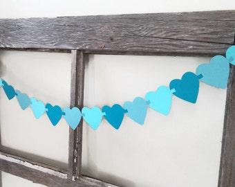 Heart Garland - Blue Ombre