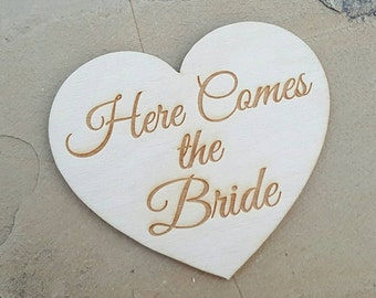 Laser Engraved - Heart Here Comes the Bride Tag -  Here Comes the Bride Tag - Here Comes the Bride