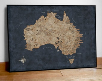 Fantasy Map of Australia, Art gift Australia, Australia map print, Australia Map Art, Australia Art Poster, Australia wall map