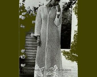 Vintage Hooded Evening Coat Crochet Pattern PDF 391 from WonkyZebra