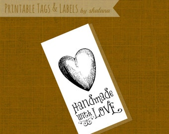 Printable PDF Hang Tag or Sticker Label - Handmade with Love