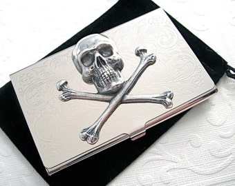 Metal Business Card Case Silver Skull & Crossbones Silver Card Case Vintage Inspired Gothic Victorian Pirate Steampunk Card Case