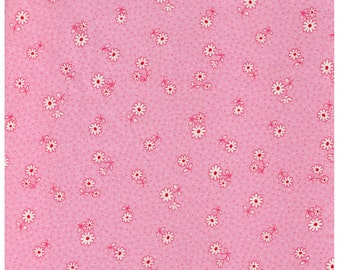 HALF YARD Yuwa - Petite Daisies and Dots on Pink - Atsuko Matsuyama 30s collection - Japanese Import Fabric - Red and White Daisy on Pink
