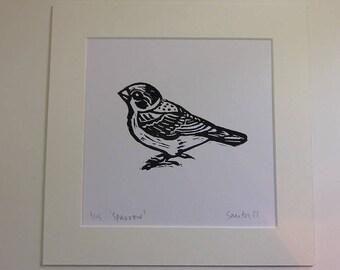 Sparrow Lino print,British Garden Birds,Limited edition,Lino cut,Bird watcher, Nature Lover,Garden Birds,twitcher,