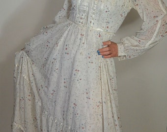 Gunne Sax Maxi Dress// Vintage 70s Prairie Girl Dress// Designer 70s Dress (F1)