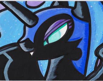 "My Little Pony Nightmare Moon Celestia Painting Acrylic 6"" x 9"""