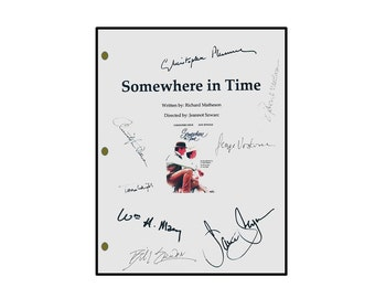Somewhere In Time Signed Movie Script Christopher Reeves, Jane Seymore, Christopher Plummer, William H. Macy, Bill Erwin