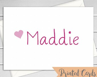 Name Note Cards Folded - 6pk, Personalized Folded Cards with Envelopes (NC-F009)