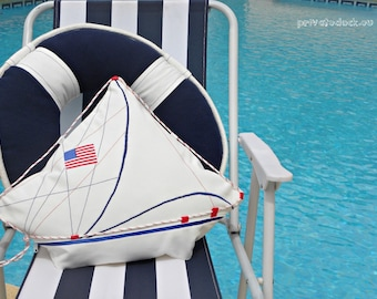 SALE -20% Nautical Pillow American Yacht with Flag. Nautical Art! Luxury White Home Decor. Spectacular gift for Sailor!