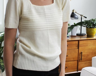 Vintage Cream White Ivory Ribbed Short Sleeve Sweater Top
