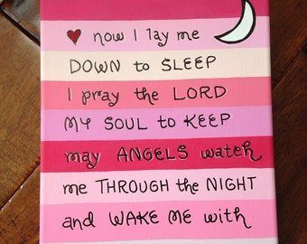 Pink Now I Lay Me Down to Sleep (Stripes) Canvas
