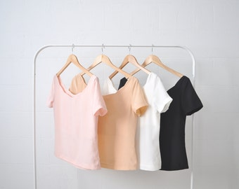 First Date Silk Scalloped Spring Pastels Blouse Top