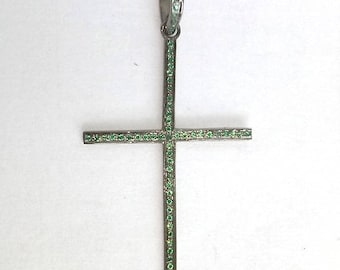 50% OFF 1 Pc Pave Green Spinel Cross Pendant 925 Sterling Silver - Oxidized Cross Pendant Size 45X30mm