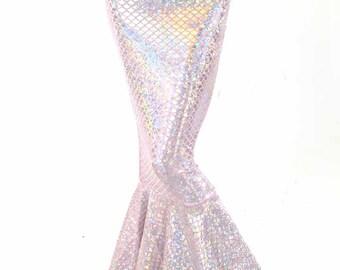 High Waist Pink & Silver Shimmering Hologram Scale Metallic Mermaid Tail Skirt 151394