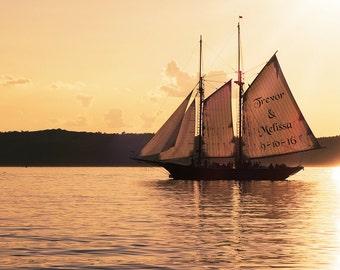 Sailboat Sunset Personalized Print, Sailing Gifts, Sailing Art, Sailor Gift, Sailboat Print, Sailing Print, Sailboat Art, Gift for Men