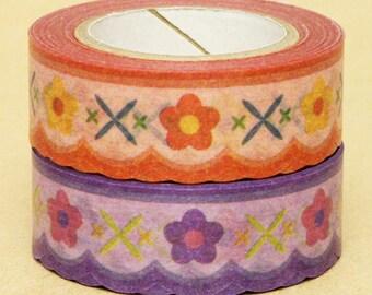 NamiNami Washi Masking Tape - Bavarian Floral in Blue & Orange