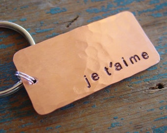 Je T'aime Keychain, I Love You in French, Boyfriend Gift, Girlfriend Gift, Long Distance Relationship, French Wording, Romantic Gifts