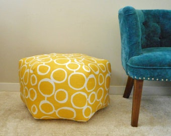 Yellow pouf, Freehand Circles fabric, foot stool, floor pillow, ottoman, floor cushion, Dorm decor