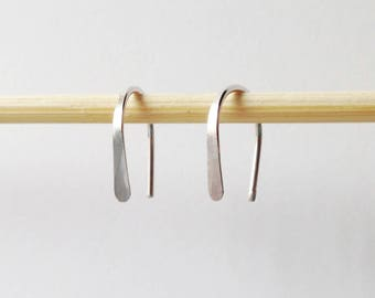 "Pair Small Sterling Silver Open Hoop Earrings, 1/2"" Lightweight Modern Minimalist Design, Simple Wire Hoops, Silver Arc, Tiny Silver Earring"