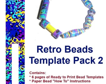 Retro Blue Paper Beads - DIY READY to PRINT. 6 Templates & Tips - Instant Download