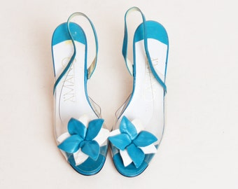 Vintage 80s Clear Blue Leather Flower Slingback Sandals / 1980s Peeptoe Heels Clear Slide Shoes 8