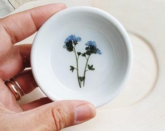 Forget Me Not Ring Dish, Small Organizer, Ceramic Ring Dish, Pressed Flowers Ring Dish, Trinket Holder