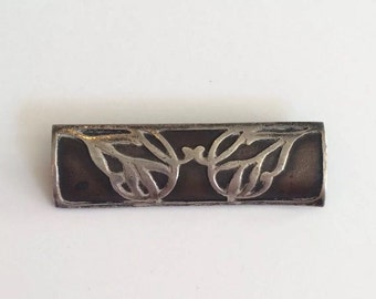 Arts & Crafts c.1900 Bronze Sterling Silver Butterfly Brooch Pin