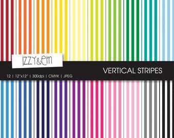 "Rainbow Striped Digital Paper- Striped Scrapbook Paper - Digital Scrapbooking Supplies - Digital Paper Pack - Rainbow Digital Paper - 12x12"""