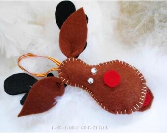 Décoration renne de Noel, renne marron en feutrine, décoration sapin, décor arbre de noel, ornement noel fait main, décoration maison, Noël