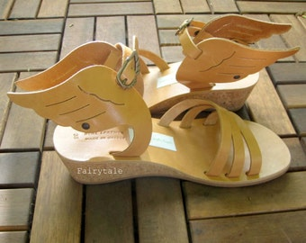 Hermes Wedges -Sandals with wings- Natural Greek Leather sandals-gladiator sandals -  winged pumps