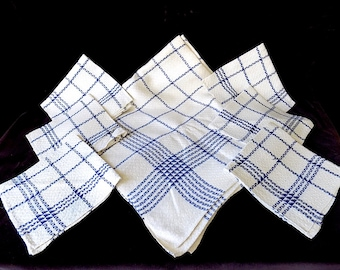 1940s Tablecloth & Six Napkins in White and Blue with Unique Weave