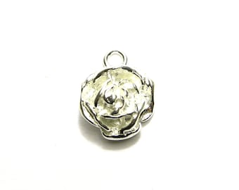 1 pc. Chunky/Heavy Solid Sterling Silver 925 Rose Charm - Rose Pendant 13 mm