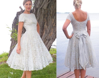 50s Dress, 1950s Prom Dress, Pale Blue Lace Party Dress, Vintage Bridesmaid Dress, 50s Circle Skirt Dress XS