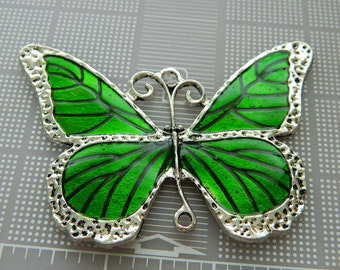 Extra Large Green Butterfly Statement Pendant - Silver and Green Antiqued Metal Pendant - Metal Enamel Pendants