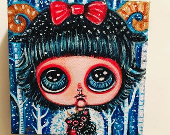 Baby krampus with her toy in the snowy woods cute whimsical big eyes girl room decor