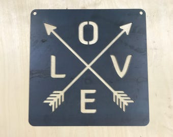 Metal sign: LOVE with arrows
