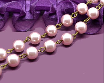 fancy Pink mother of Pearl beaded chain dangles