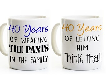 40th Anniversary Gift - Funny Anniversary Coffee Mugs - 40 Years Married - Fortieth Forty