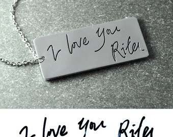 Free shipping Custom Handwriting necklace Signature pendant,bar necklace,signature necklace,Handwriting Jewelry Mom Necklace Mommy gift