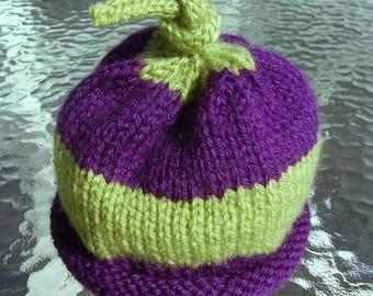 Hand Knit Baby Beanie Hat - Striped Infant Beanie Hat - Rolled Brim - 0 to 6 Months - Photo Costume Prop - Newborn to 6 Months