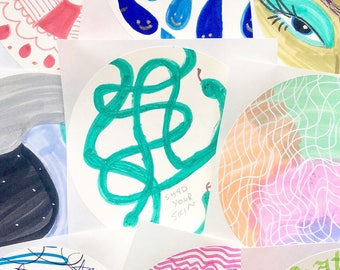 Hand Illustrated Stickers 〰 One of a Kind Artist Sticker Packs 〰 Packs of 3,6 and 10