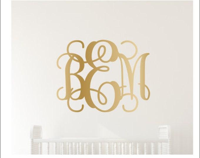 Gold Monogram Decal Metallic Gold Vinyl Decal Gold Wall Monogram Girls Nursery Decal Bedroom Decal Gold Vinyl Wall Monogram Personalized