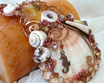 Beaded Kumihimo Necklace ~ Shell Necklace ~ Copper Wire Wrapped Necklace ~ Copper Beaded Necklace ~ Shell Statement Necklace ~ Statement