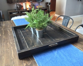 Noah Extra Large Wood Ottoman Tray / Square Pallet Ottoman Tray / 21 x 21 - 24 x 24