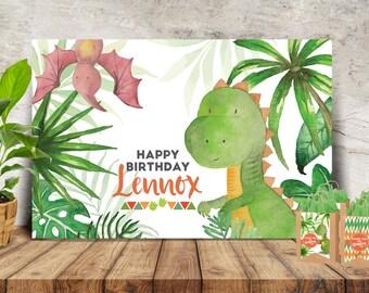 Watercolor Dinosaur Party Banner/Backdrop