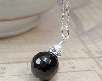 Black Onyx Necklace, Sterling Silver, Faceted Black Stone Pendant, Natural Pearl Accent, Simple Bridesmaid Gift, Winter Wedding Jewelry