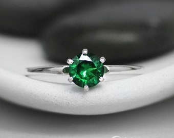 Classic Engagement Ring - Sterling Silver Solitaire Ring - Green Spinel May Birthstone Ring - Simple Proposal Ring - Alternative Engagement