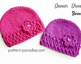 Crochet Pattern for Beanie Hat Slouchy, Toddler Child and Adult PDF 17-319